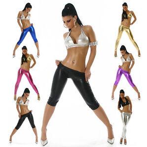 Gogo Leggings glänzend Einheitsgröße (32-36) bunt kurz lang Tanz Hose Leggins