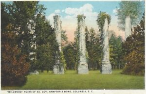 Details about 1920's postcard - Millwood Ruins of Gov  Hamptons Home,  Columbia, South Carolina