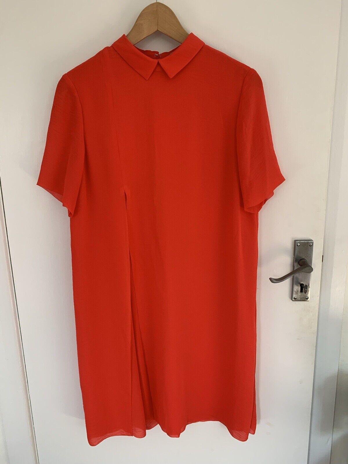 Cos hasta la rodilla vestido tamaño impresionante naranja una vez usado 36 S 10