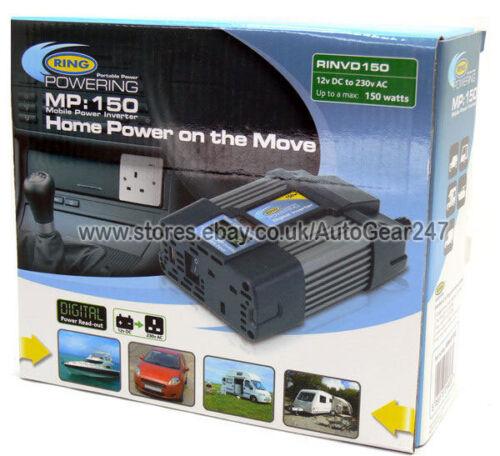 Ring MP150 Digital Read 150w 12v DC-230v AC USB Mains Power Inverter RINVD150