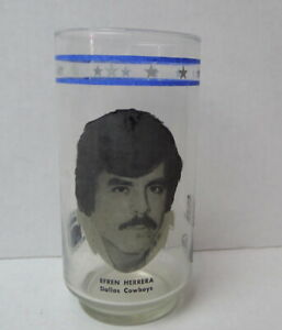 Dallas-Cowboys-1977-Burger-King-glass-Efren-Herrera-Rare-Find-Collector-Owned