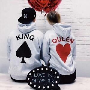 Couple Matching Casual Hoodie Sweater Sweatshirt Love Anniversary King & Queen