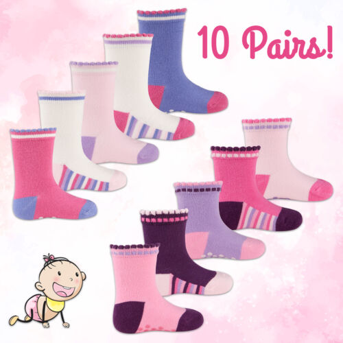 10 Pairs Newborn Baby Girls ABS Socks Ankle Socks with Non Anti Slip Grippers