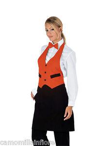 100% Vrai Grembiule Con Pettorina A Gilet Per Cameriere Bar Ristorante Arancio + Nero Tg U Ture 100% Garantie