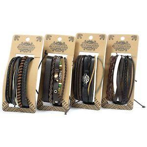 4bac2efd2fdb Detalles de Hombre Pulsera Surfera Set - Muñequera Envolvente Organizador  -leather Cuentas y