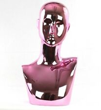 Mn 442pk Chrome Pink Female Abstract Mannequin Head Display Pierced Ears
