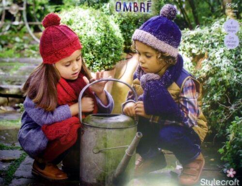 Stylecraft Tejer patrón 9254 chicas chicos Aran sombreros Bufandas Ombre 4 fácil de punto
