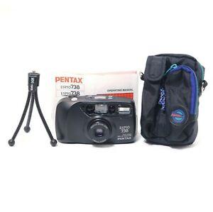 Pentax-738-AF-35mm-Auto-Compact-Film-Camera-w-Flash-amp-Zoom-Lens-w-CASE-MANUAL