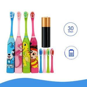 Enfants-Automatique-Brosse-a-Dents-Electrique-Ultrasonique-Etanche-W-2-Tetes-FR