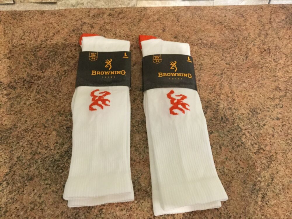 2 Paires Browning Buckmark Logo Chaussettes Blanc/rouge 6-10 Bnwt