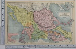 Antico & Classica Mappa Graecia Extra Peloponnesum Thessalia Epirus Boeotia