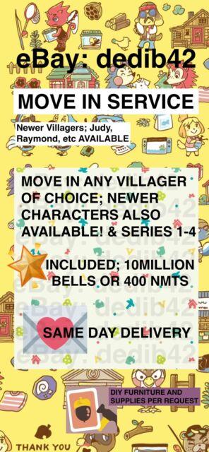 Animal Crossing Villager + Crwns or 400 tickets Raymond Judy Marshal Dom