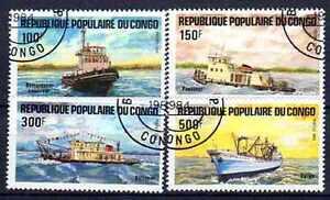 Bateaux-Congo-19-serie-complete-de-4-timbres-obliteres