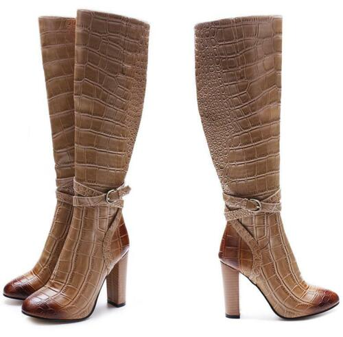 Women Alligator Round Toe Thigh High Top Knee Knight Boots Big Size 34-46 Party