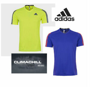 adidas-Mens-Function-Training-T-Shirt-Gym-Running-Fitness-Blue-Yellow-Tee-Top