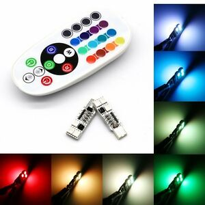 2x t10 rgb 16 colors changing led lamp car dome interior light remote control. Black Bedroom Furniture Sets. Home Design Ideas