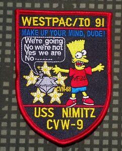 US-Navy-USS-Nimitz-CVW-9-Carrier-Westpac-IO-1991-Bart-Simpson-Patch