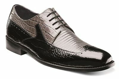 Stacy Adams Mens Shoes PORTELLO Black and Gray  Crocodile Print Leather 24872