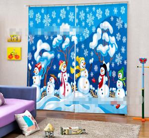 Muñeco De Nieve 3D 732 Cortinas de impresión de cortina de foto Blockout Tela Cortinas Ventana au