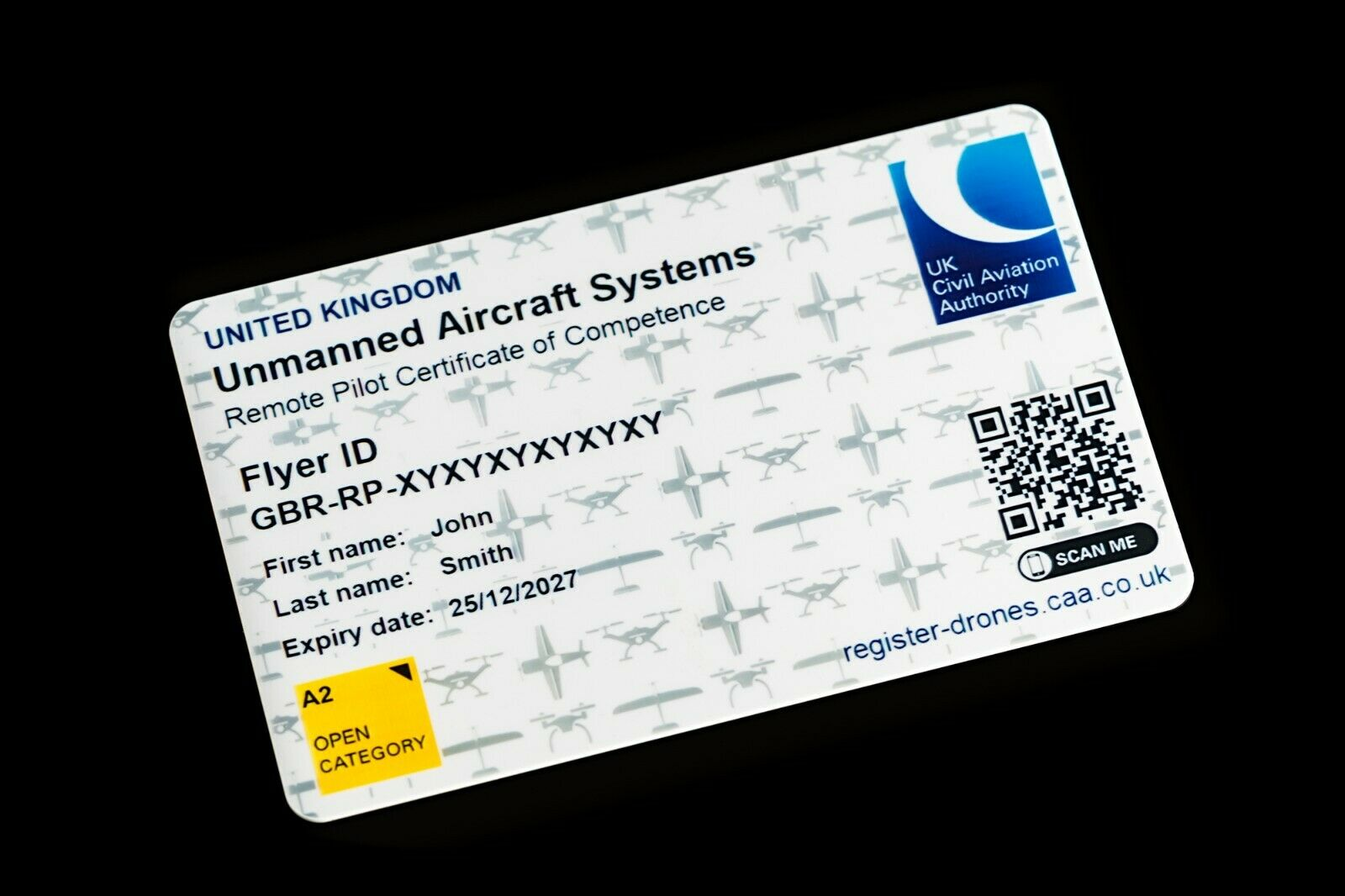 CAA A2 CofC Card - Drone Pilot (Unmanned Aircraft Operator) ID Card with lanyard