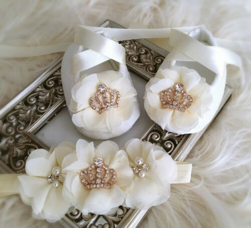 Baby Ivory Christening Shoes Baptism Shoes Rhinestone Crowns Chiffon Flowers