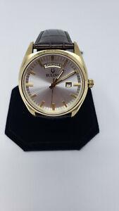 Bulova-Men-039-s-Surveyor-Silver-Dial-Brown-Leather-Watch-97C106
