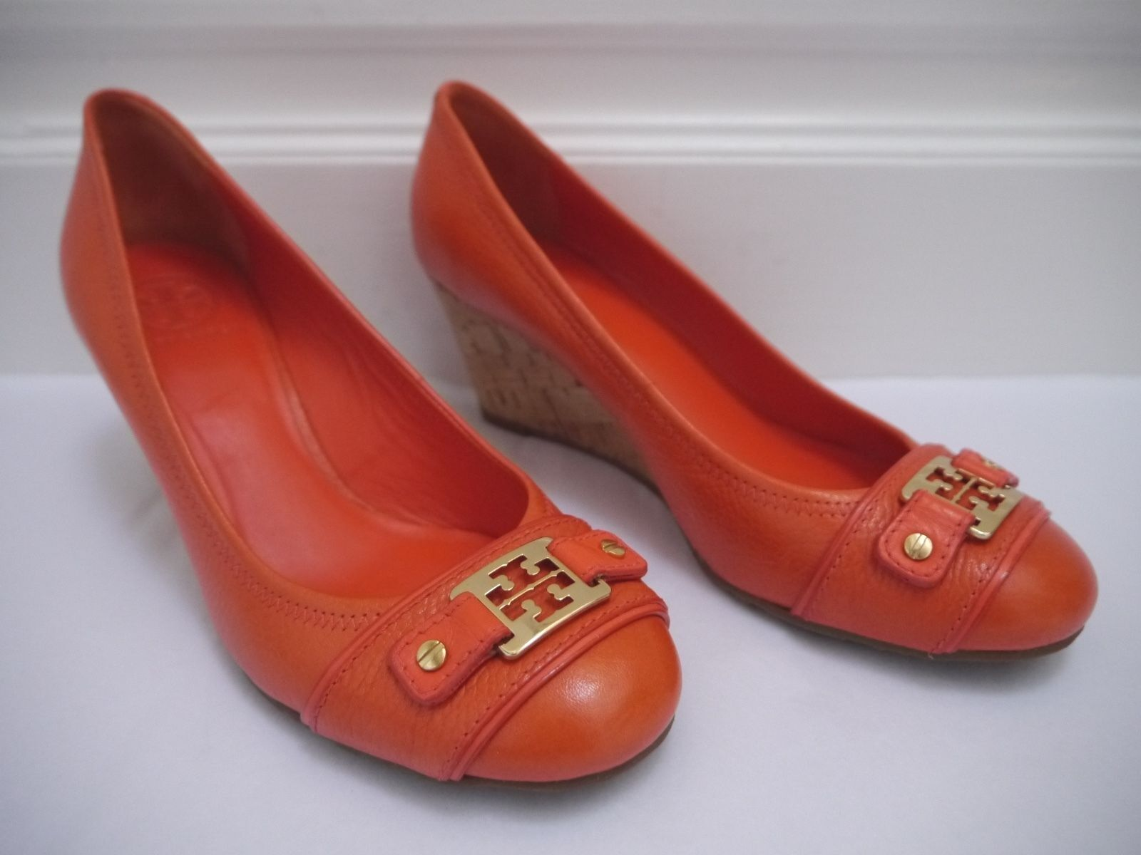 TORY BURCH  265 Natalya orange leather gold logo cork wedge heels sz 9 WORN ONCE