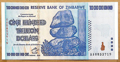 $100,000,000,000,000 - HUNDRED TRILLION DOLLARS - ZIMBABWE CURRENCY - MINT COND.