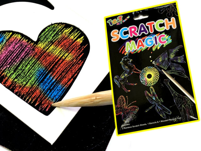RAINBOW SCRATCH MAGIC COLOURING ACTIVITY TOY BOY GIRLS CHRISTMAS STOCKING FILLER