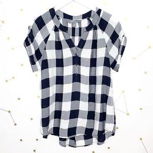 Stitch-Fix-Blouse-Size-Small-Navy-Blue-Buffalo-Plaid-Short-Sleeves-Market-Spruce