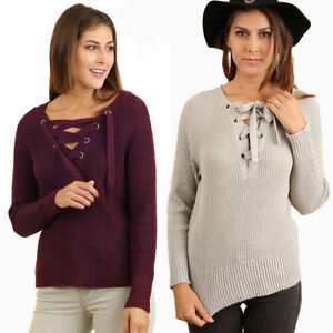 UMGEE-Womens-Chic-Drawstring-Rib-Knit-Long-Sleeve-Sweater-Top-Blouse-S-M-L