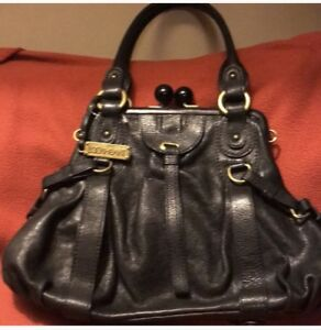 Image is loading Lockheart-black-genuine-leather-Satchel-Bag-kiss-lock- c3684a5ab9793