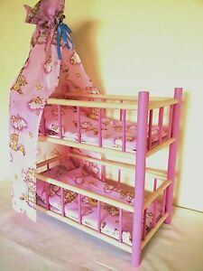 NEW WOODEN BUNK BED COT CRIB DOLLS TOY WITH PINK BEDDING SET AND CANOPY