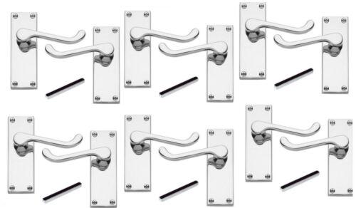 Qté 6 x paire de chrome poli intérieur levier loquet poignées de porte 112mm parchemin