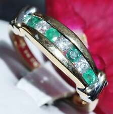 14k Gold Emerald and Diamond Ring Size 7.25