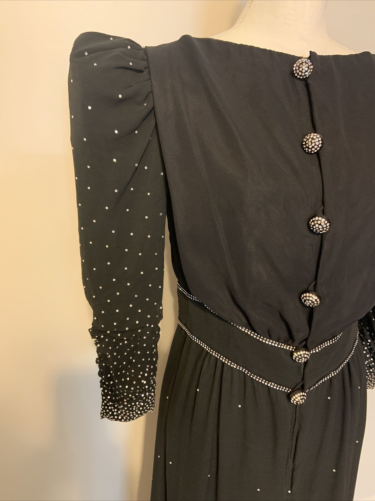 Arnold Scaasi Womens Vintage Couture Black Silk C… - image 2