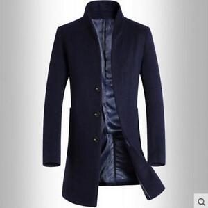 6360f9ba015f Men Long Coat Wool Trench Single Breasted Slim Fit Peacoat Overcoat ...