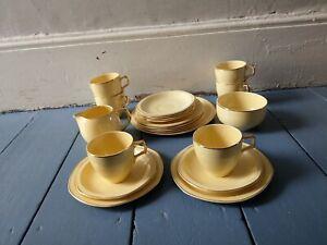 VINTAGE-RETRO-PRIMROSA-BAKER-BROS-YELLOW-TEA-COFFEE-SET-PLATES-CUPS-MILK-JUG