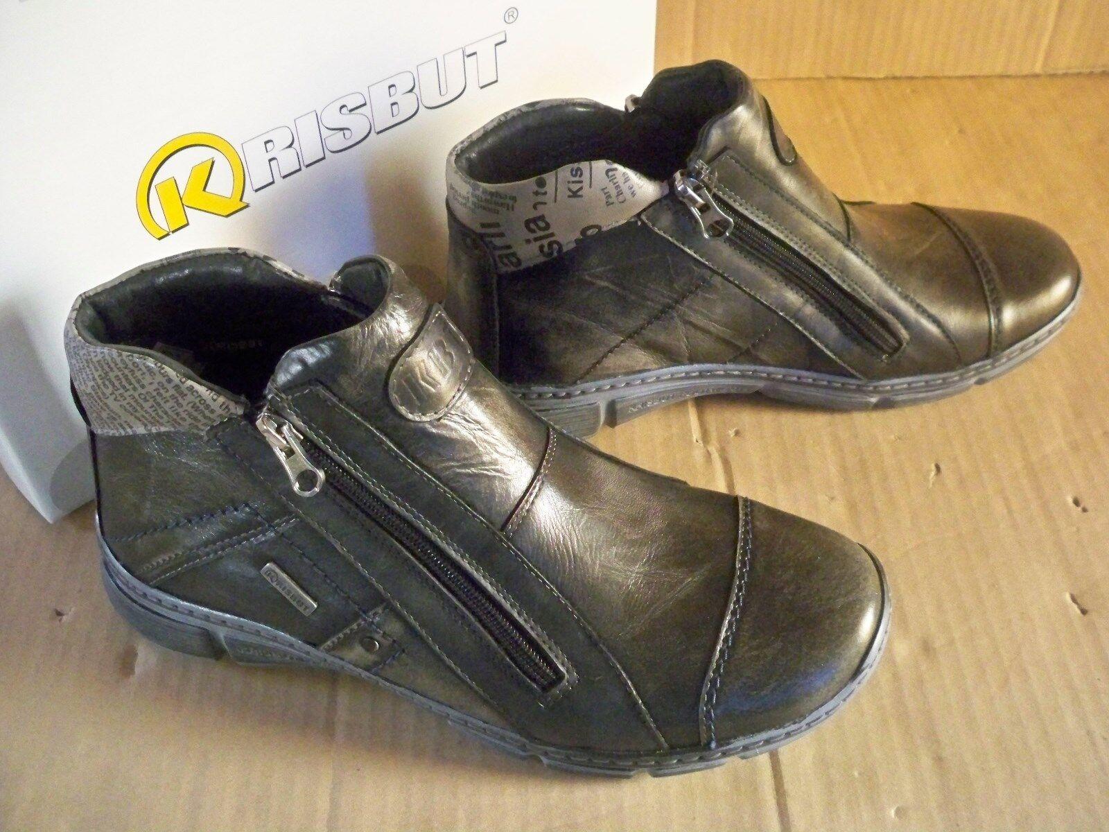 Krisbut  Herren Schuhe Stiefel Leder Boots 6419-1-4 gefüttert  Gr 45 antrazit