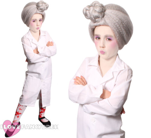 KIDS EVIL DENTIST COSTUME LAB COAT FACEPAINT TIGHTS SCHOOL BOOK WEEK FANCY DRESS
