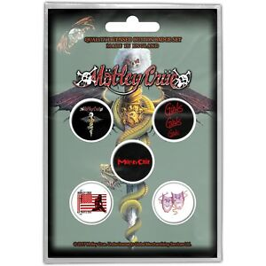 Official-Licensed-Merch-5-BADGE-PACK-Metal-Pin-Badges-MOTLEY-CRUE-Dr-Feelgood