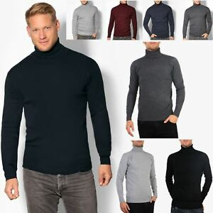 80a1cfe50c7 Details about Mens Polo Turtle Neck Roll Jumper Cotton Knitwear Sweater  Winter Pullover Top