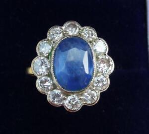 Fabulous-18ct-amp-white-gold-Tanzanite-and-Diamond-cluster-art-deco-design-ring