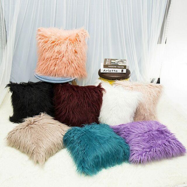 Faux Fur Soft Throw Pillow Case Fluffy Plush Sofa Cushion Cover Home Room Decor