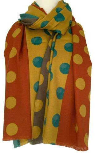 Mustard Yellow Scarf Burnt Orange Green Dots Spotted Wrap Ladies Spotty Shawl