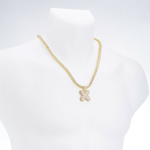 """A Z Initial Bubble Letters Gold Plated Iced Pendant 24/"""" Tennis Chain Necklace"""