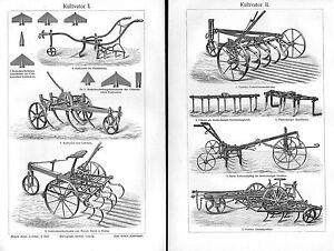 Motobineuse Grubber Agriculture Périphériques Charrue Bauer Gravure Sur Bois De 1905-afficher Le Titre D'origine Renforcement De La Taille Et Des Nerfs