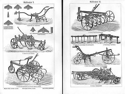 Kultivator Grubber Landwirtschaft Geräte Pflug Bauer Holzstich Von 1905