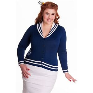 Plus-Size-Navy-Blue-Sailor-Anchor-Cardigan-UK-18-Vintage-Nautical-Top-Cardi-XXL