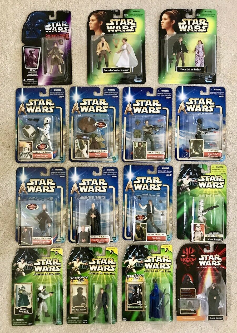 Vintage Star Wars Lot of 15 NIB Action Figures Toys Kenner Hasbro 1990s-2000s